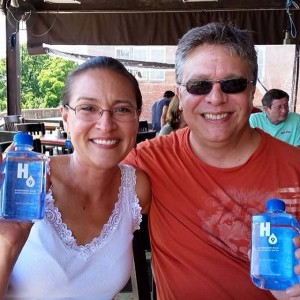Keith and Shannon French with H9 water bottles